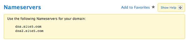 Nameservers Cpanel Site5