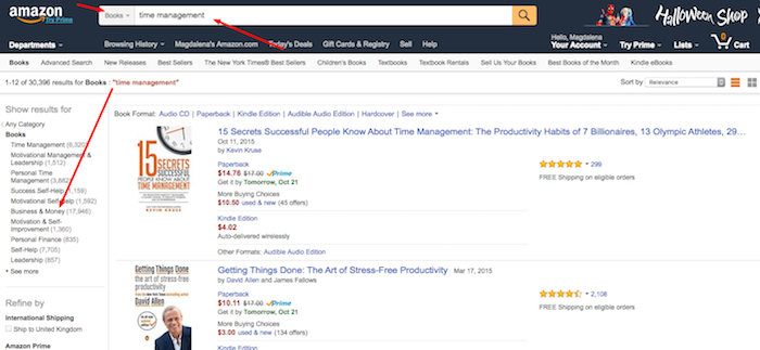 Amazon and Searching for Blog Posts Ideas - Step 1